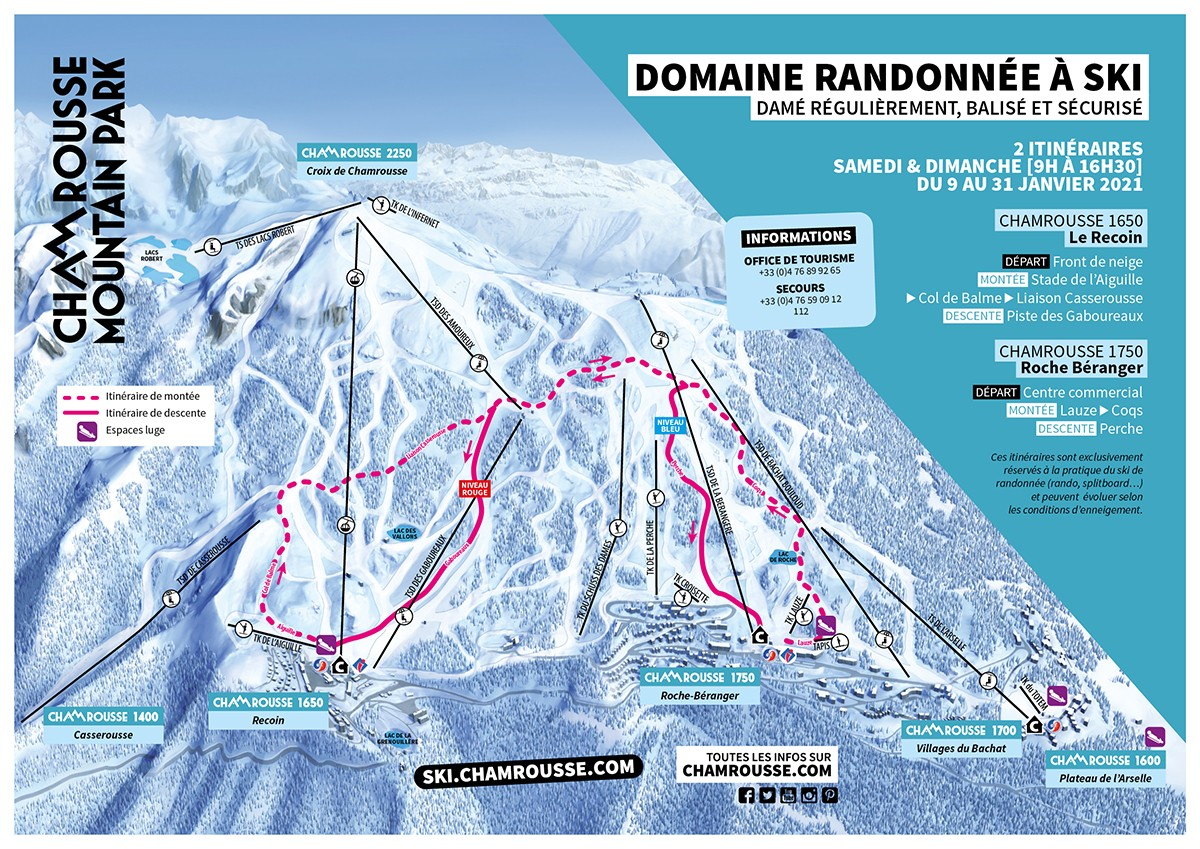 Itinéraires ski de rando sécurisés janvier Chamrousse