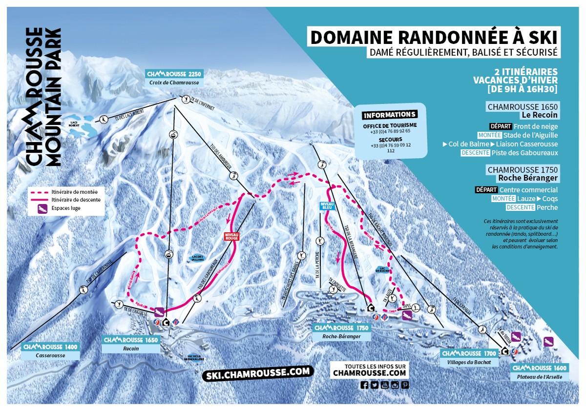 Itinéraires ski de rando sécurisés février Chamrousse