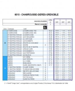 Timetable regular bus line Transisère 6010 Chamrousse-Grenoble Winter 2020-21