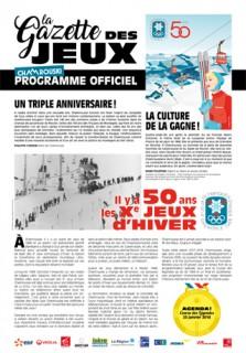 Gazette des Jeux - programme officiel 50 ans JO