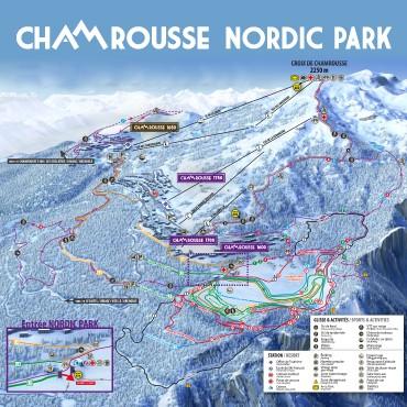 Plan des pistes de ski nordique et raquettes