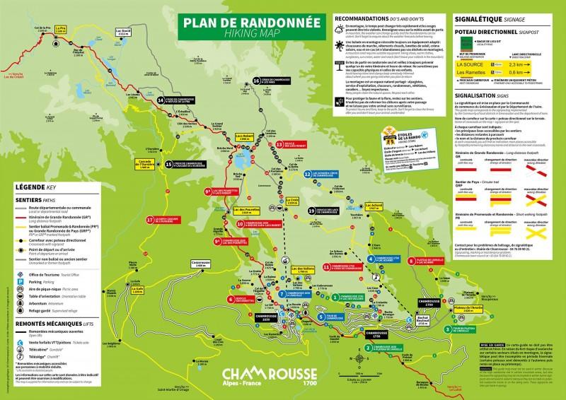 Plan des itinéraires randonnées