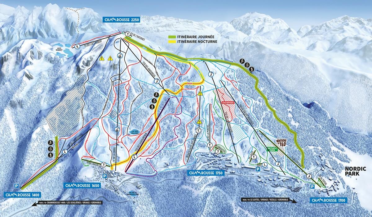 Plan itinéraires ski de randonnée Chamrousse