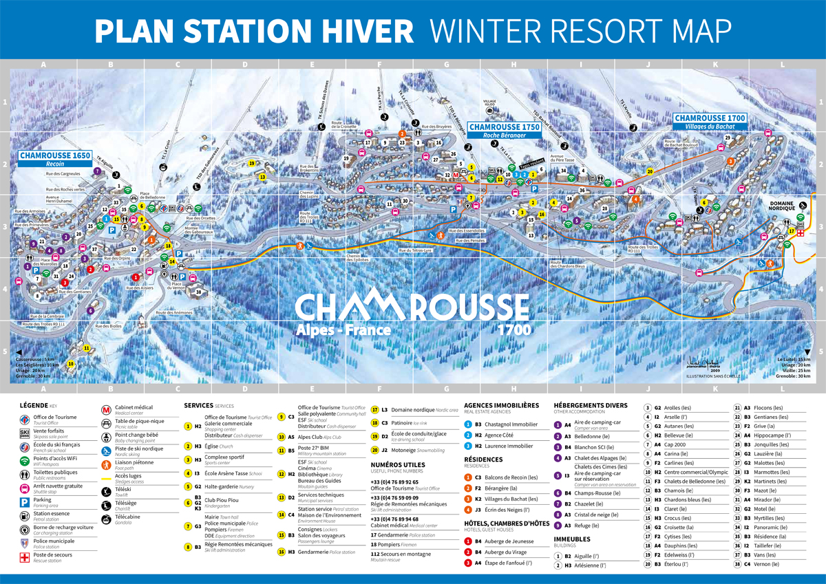 Plan station Chamrousse hiver
