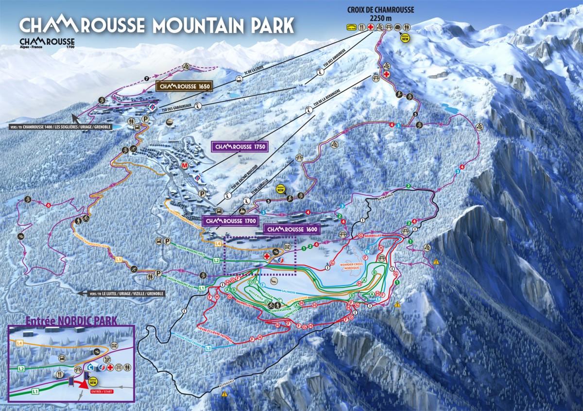 Plan des pistes nordique Chamrousse