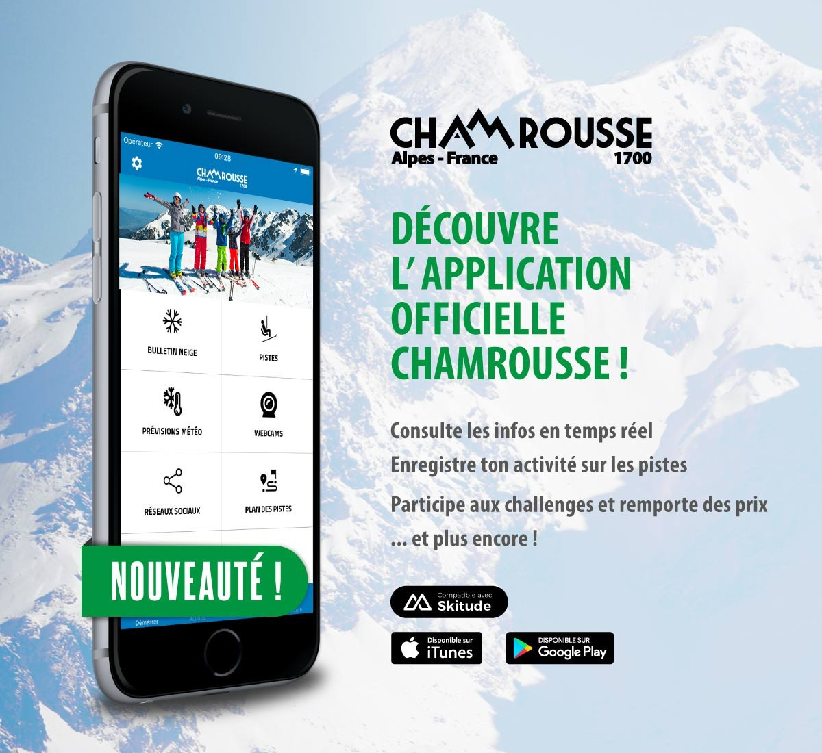 Application mobile Chamrousse station ski isère alpes France