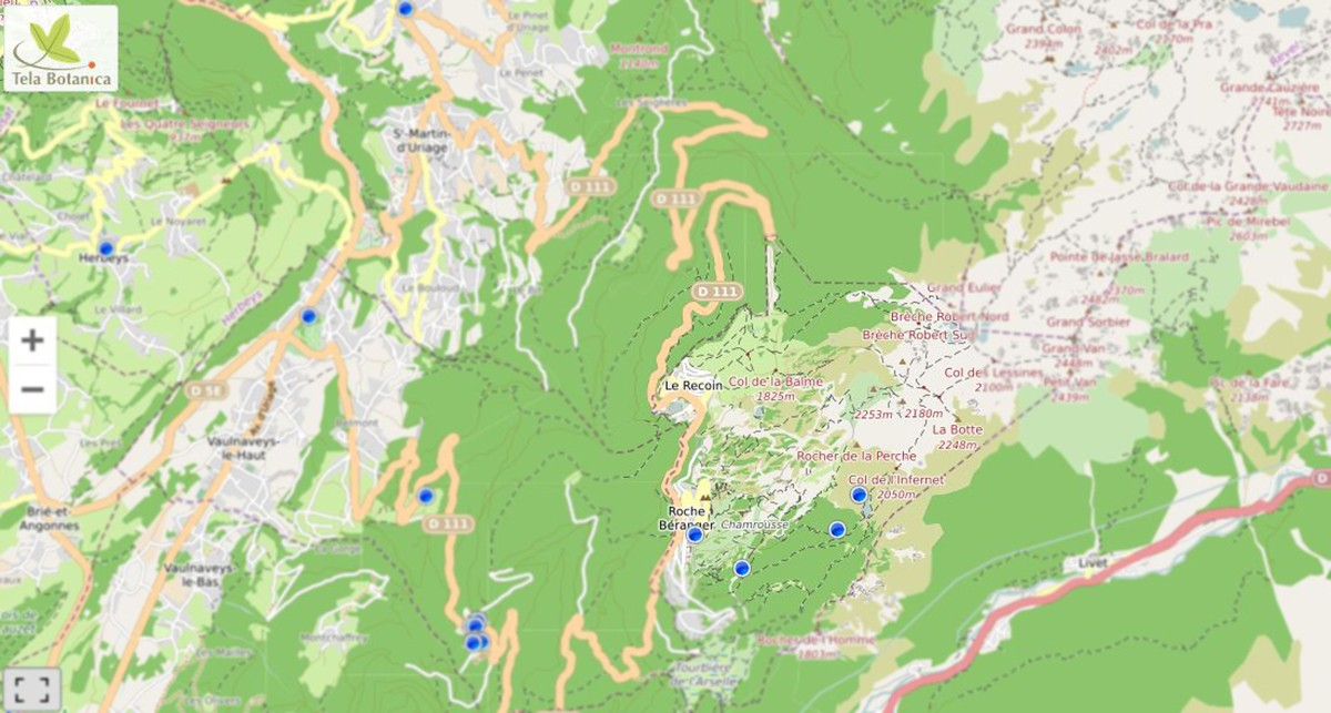 Chamrousse remarkable trees map mountain summer resort grenoble isere french alps france