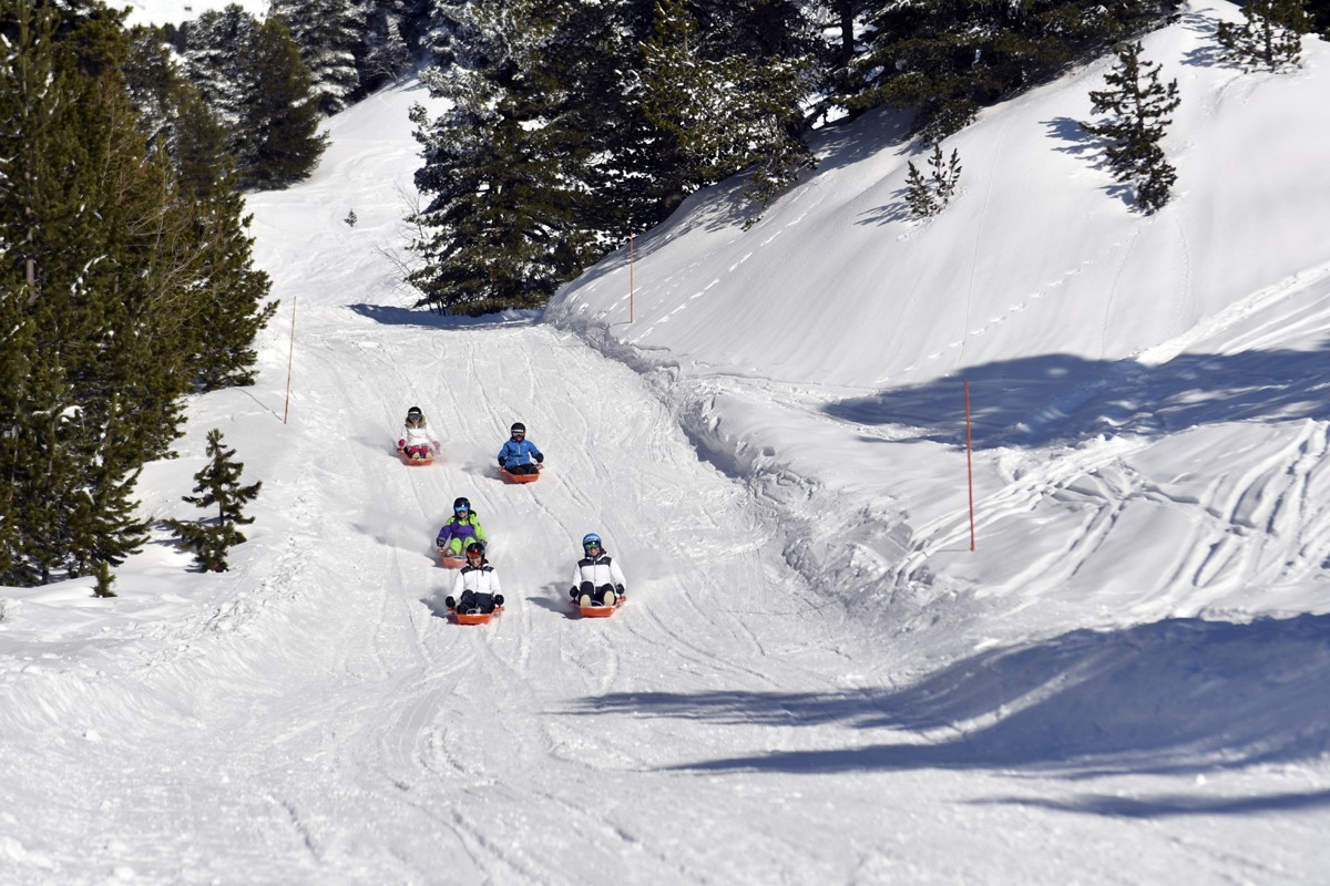 Chamrousse Sledging Park with friends ski resort isere french alps France