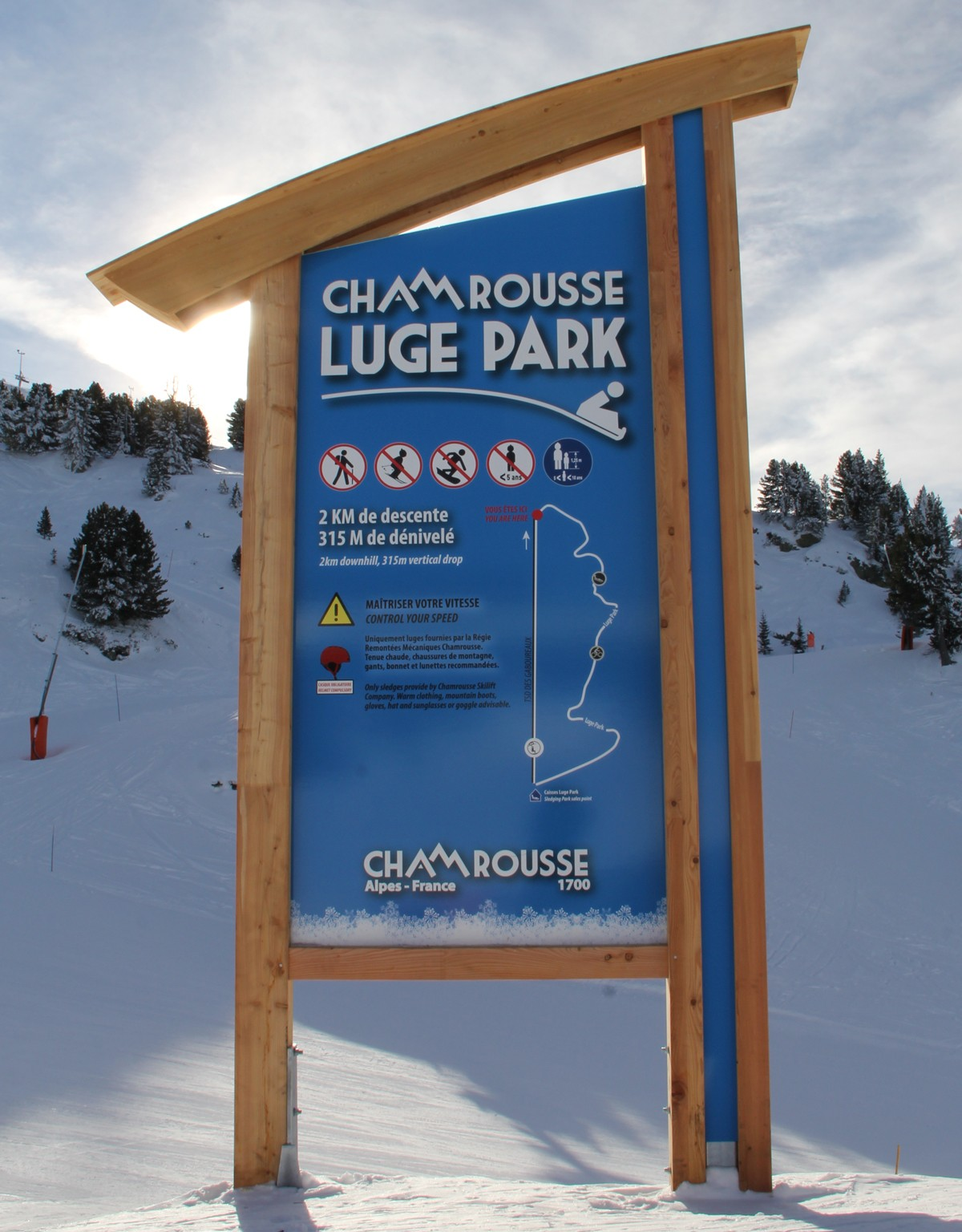 Chamrousse panneau Luge Park station ski hiver isère alpes france