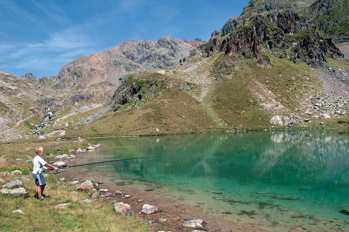 Chamrousse mountain lake fishing mountain summer resort french alps france