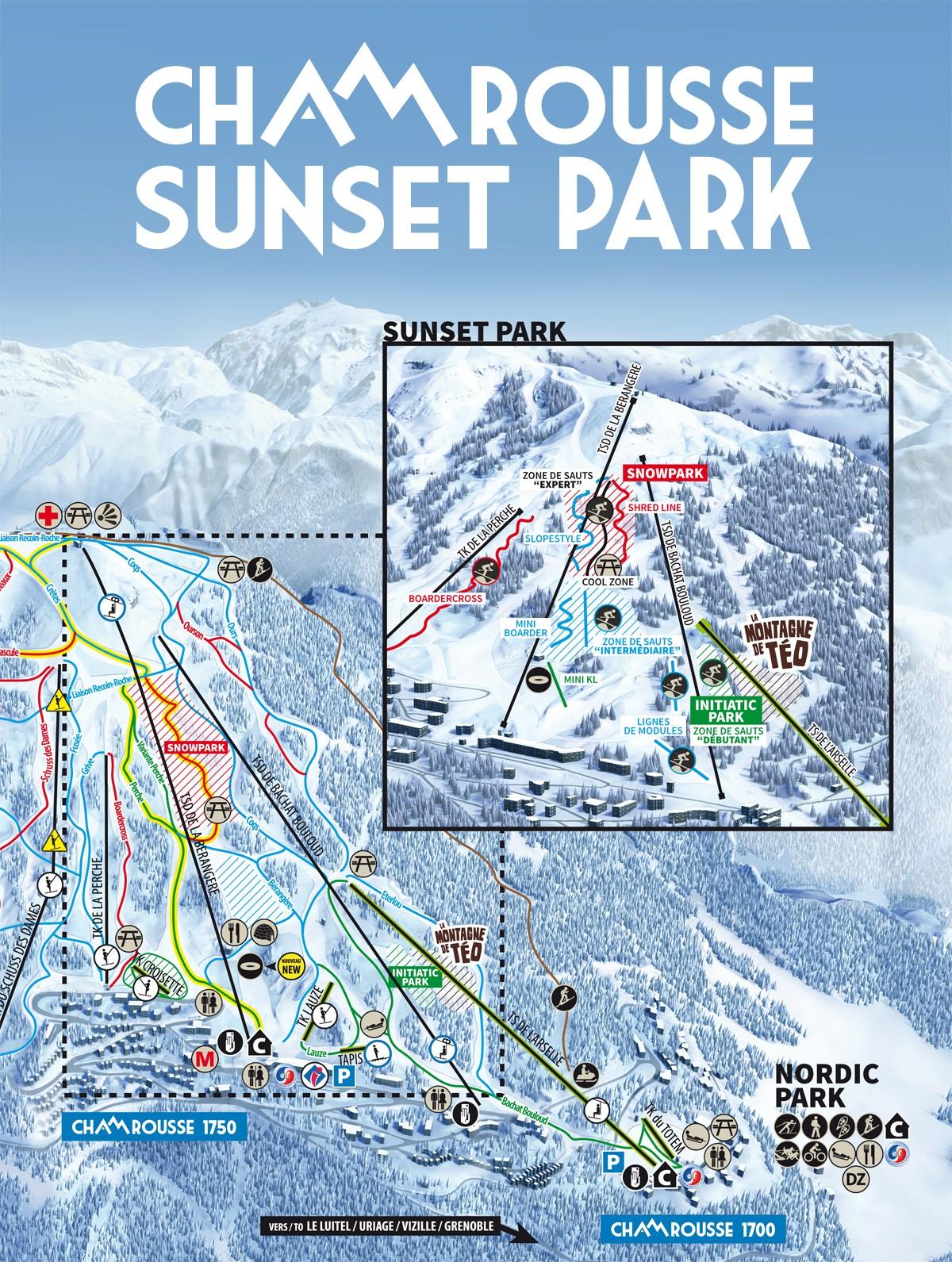 Plan Sunset Park snowpark Chamrousse