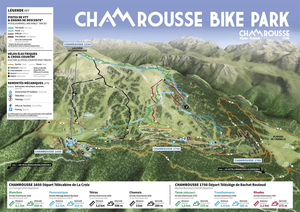 Chamrousse plan vtt engins de descente vttae cross-country station montagne été isère alpes france