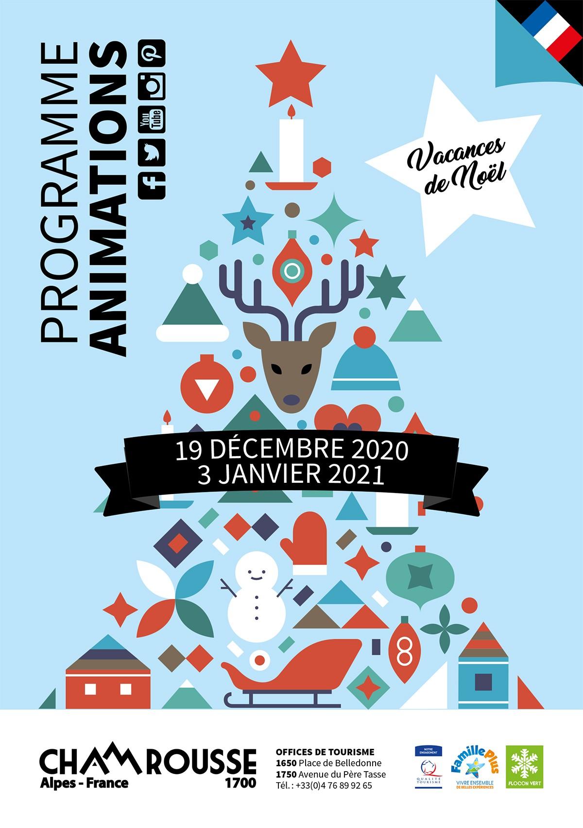 Chamrousse programme animation événement vacances noël décembre 2020 station ski montagne isère alpes france