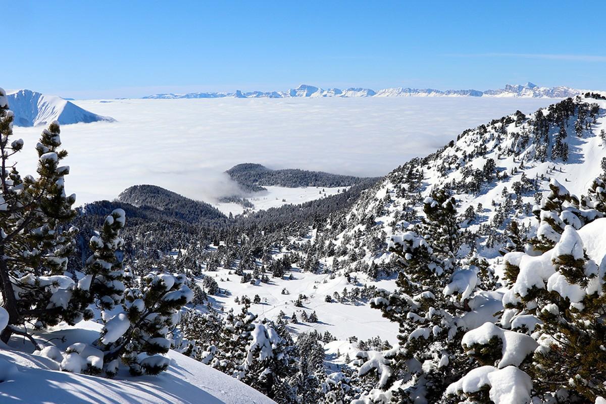 Lac Achard et plateau Arselle hiver Chamrousse