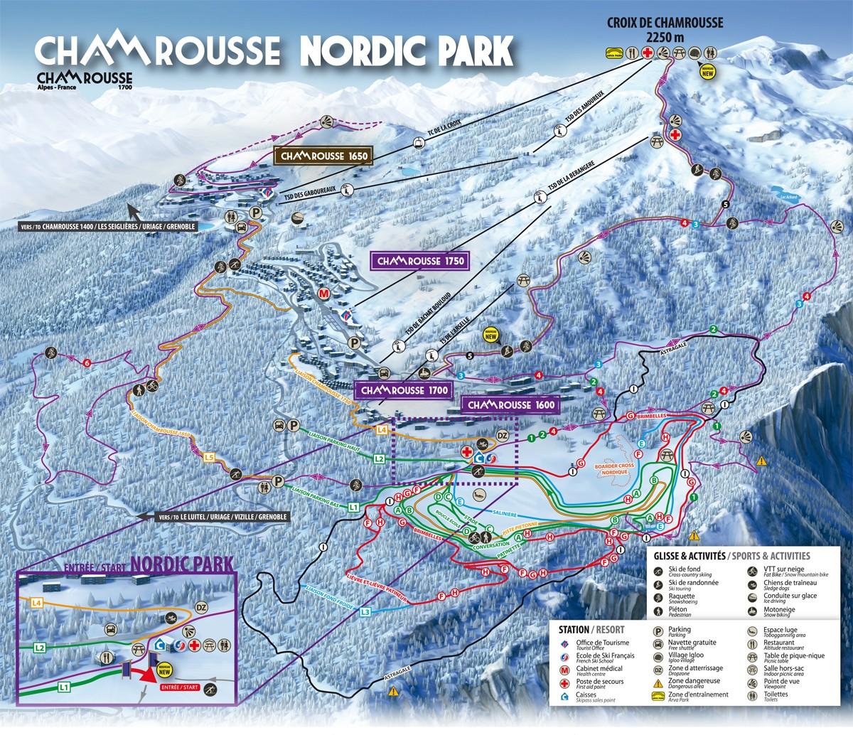 Plan des pistes nordique Chamrousse 2018