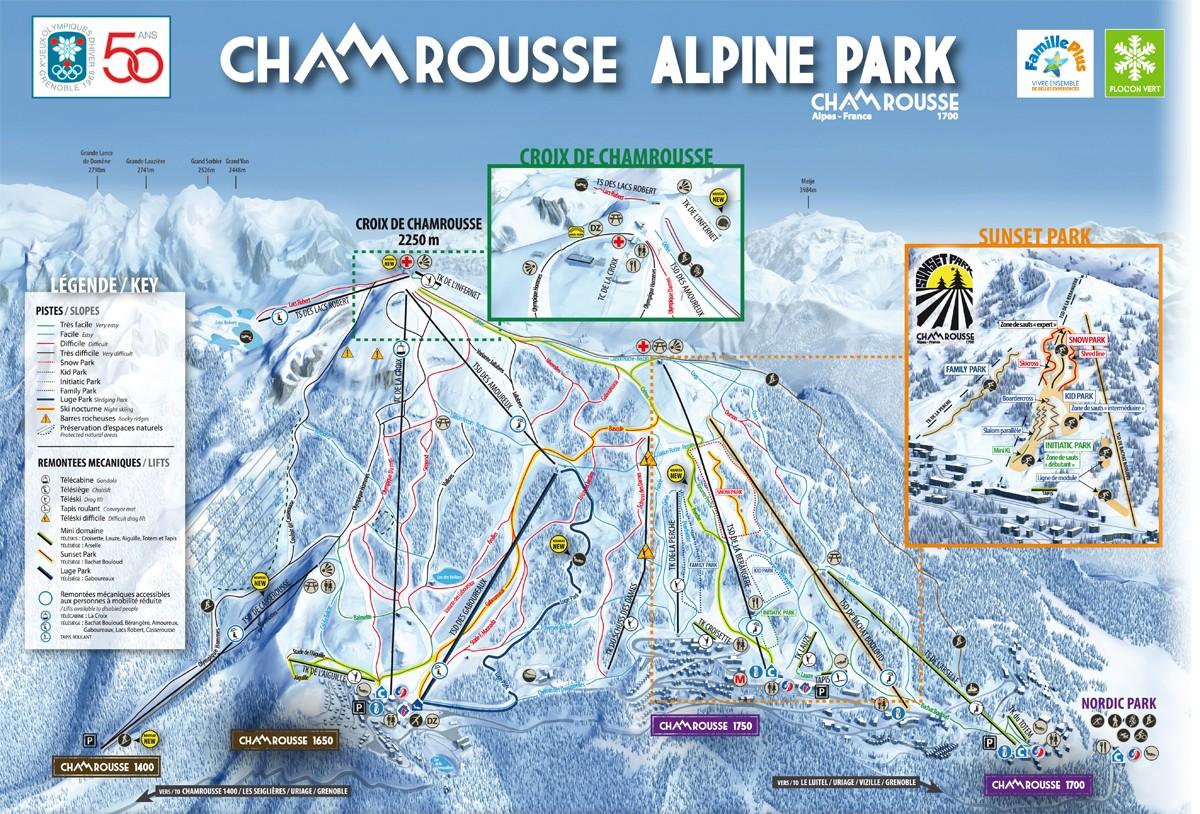 Plan des pistes alpin Chamrousse 2017-18