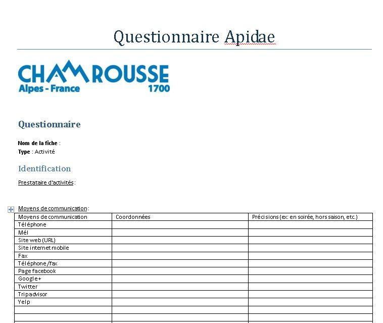 Questionnaire Apidae