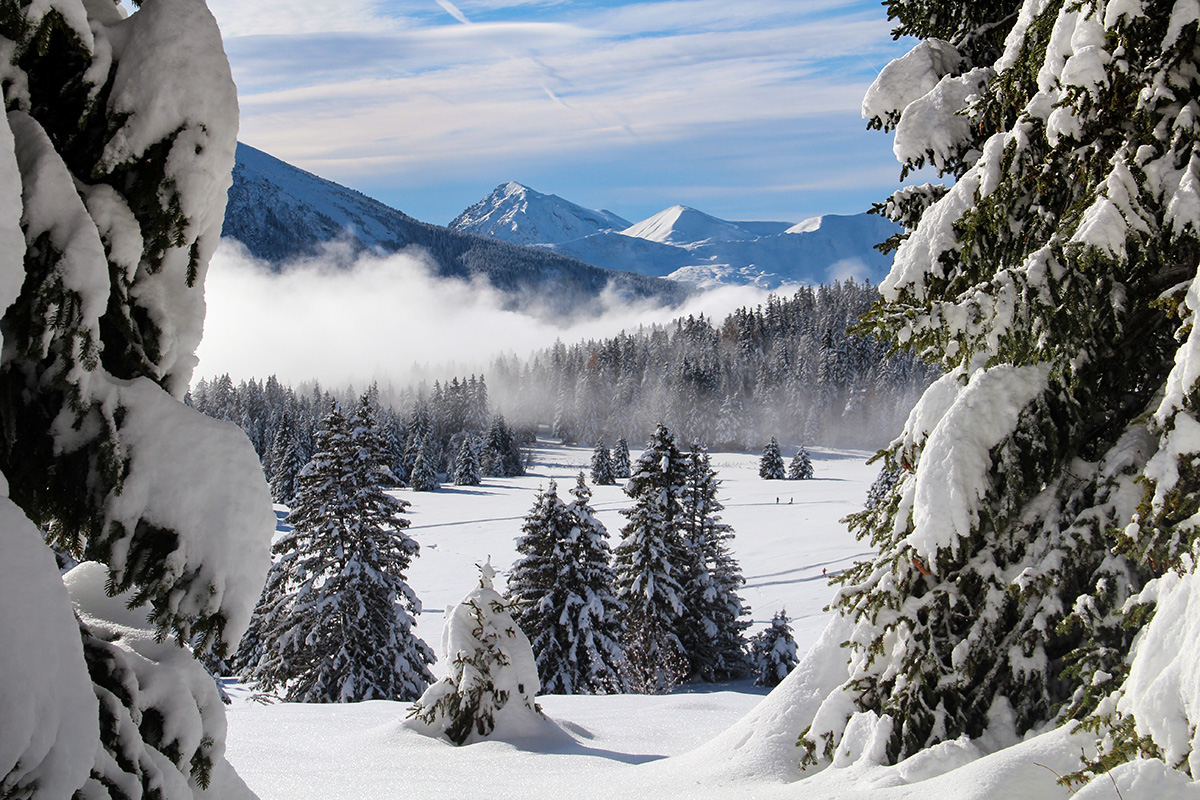 Chamrousse domaine nordique ski de fond nordic park station montagne hiver isère alpes france - © Aeolus Drone