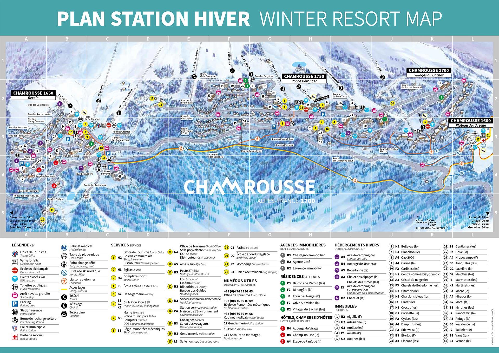 Chamrousse plan station hiver ski montagne grenoble lyon isère alpes france