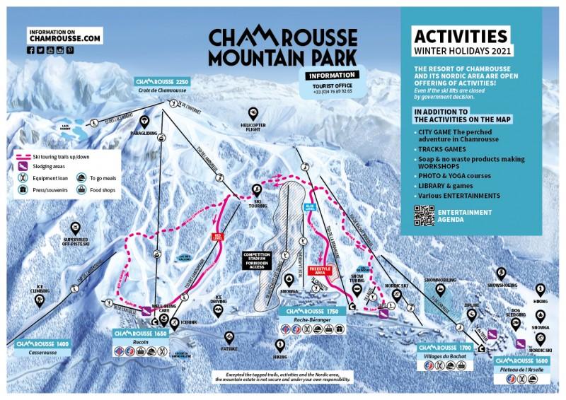 Chamrousse activities map winter holidays february 2021