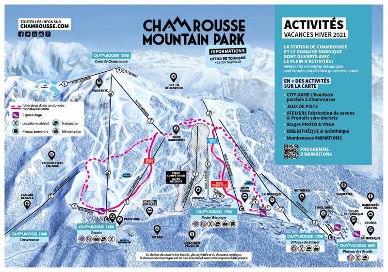 Chamrousse carte activités vacances hiver février 2021 station montagne ski isère alpes france