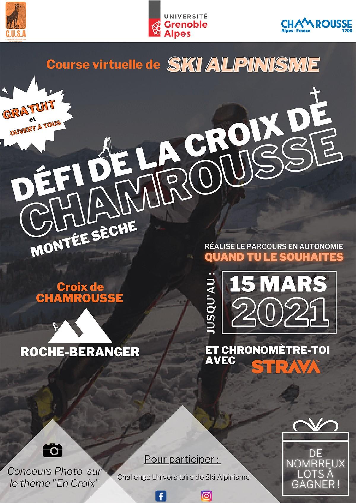 Défi Croix chamrousse ski randonnée