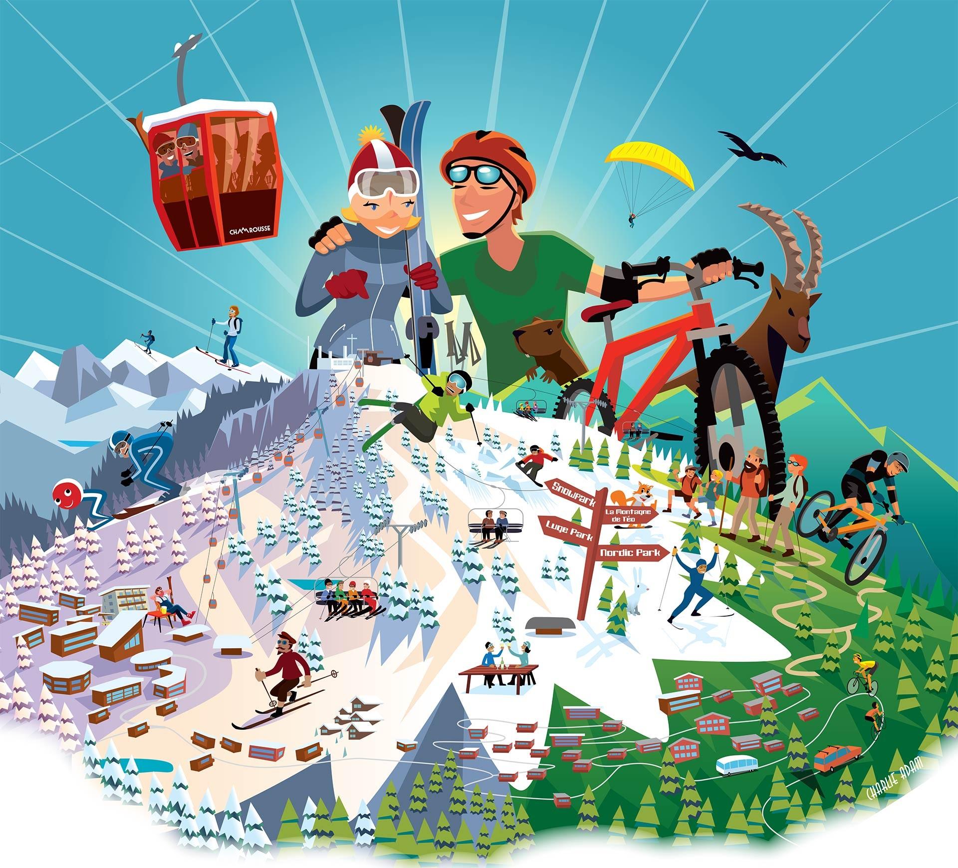 Chamrousse séjour hébergement aventure sport bien-être station ski snowboard montagne randonnée vtt vélo parapente été hiver isère alpes