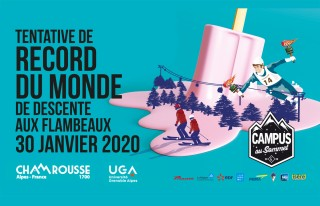 Visuel tentative de record du monde de descente aux flambeaux publique Chamrousse