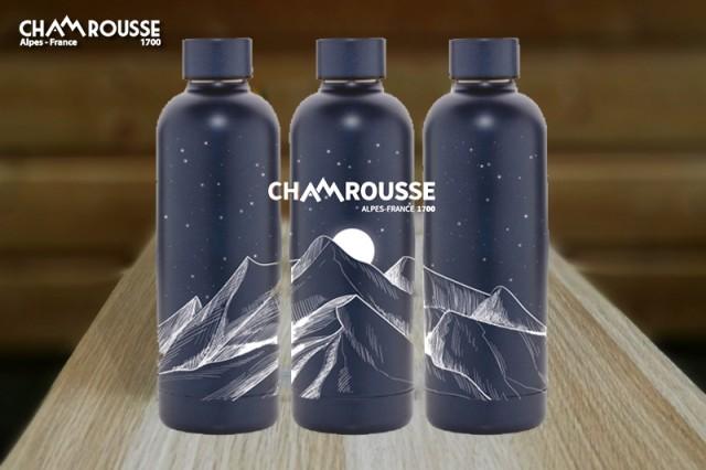 Gourde thermos bleu nuit Chamrousse