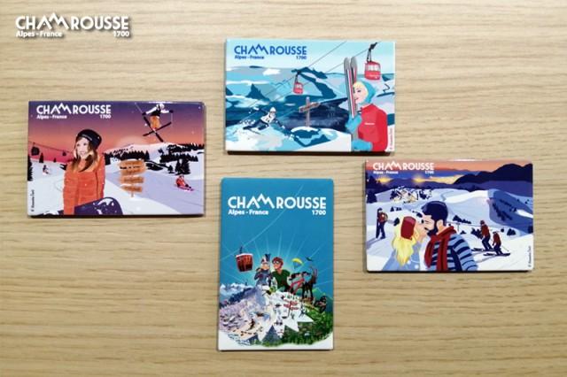 Chamrousse gift shop souvenir fridge magnet winter summer mountain resort isere french alps france