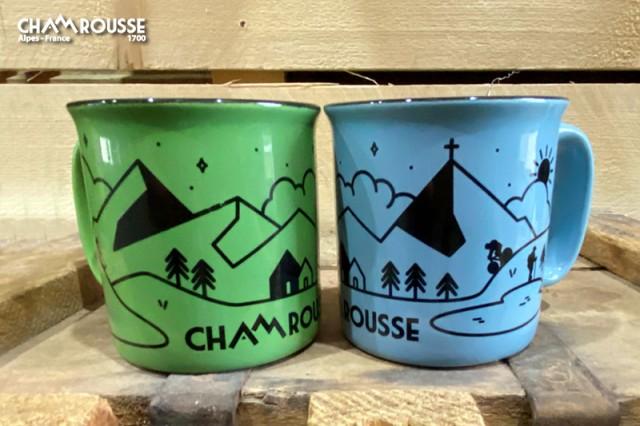 Chamrousse gift shop souvenir vintage mug mountain resort isere french alps france