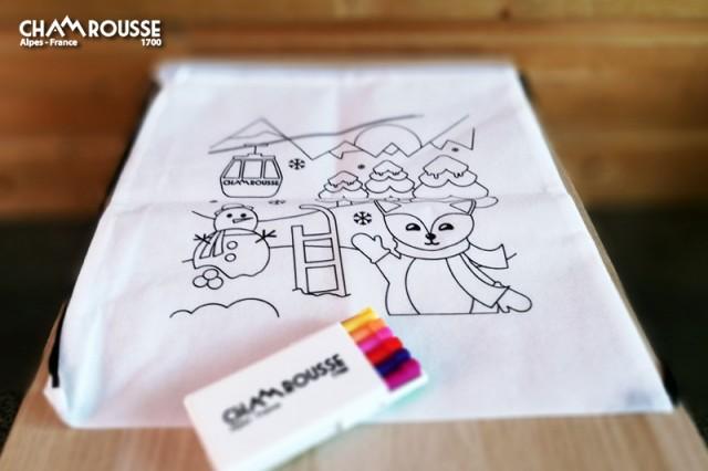 Chamrousse gift shop souvenir canvas bag to color felt pens mountain resort isere french alps france