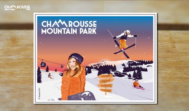 Chamrousse gift shop souvenir night skiing poster mountain ski resort isere french alps france