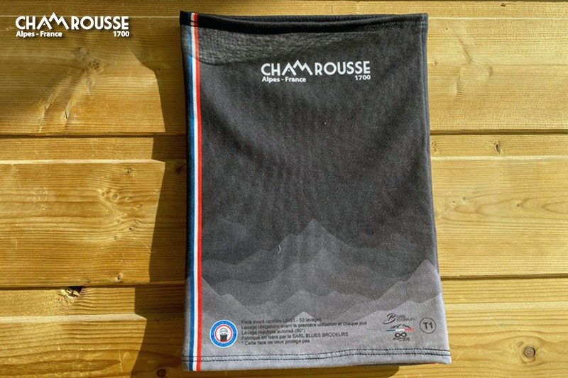 Chamrousse gift shop souvenir covid certified fabric buff mountain resort isere french alps france