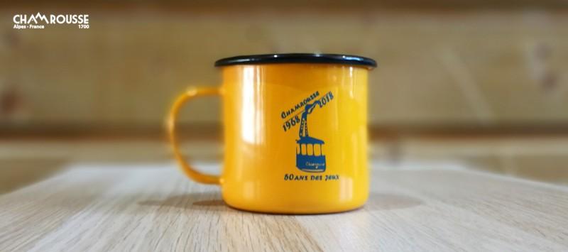 Mug vintage jaune 50 ans JO Chamrousse